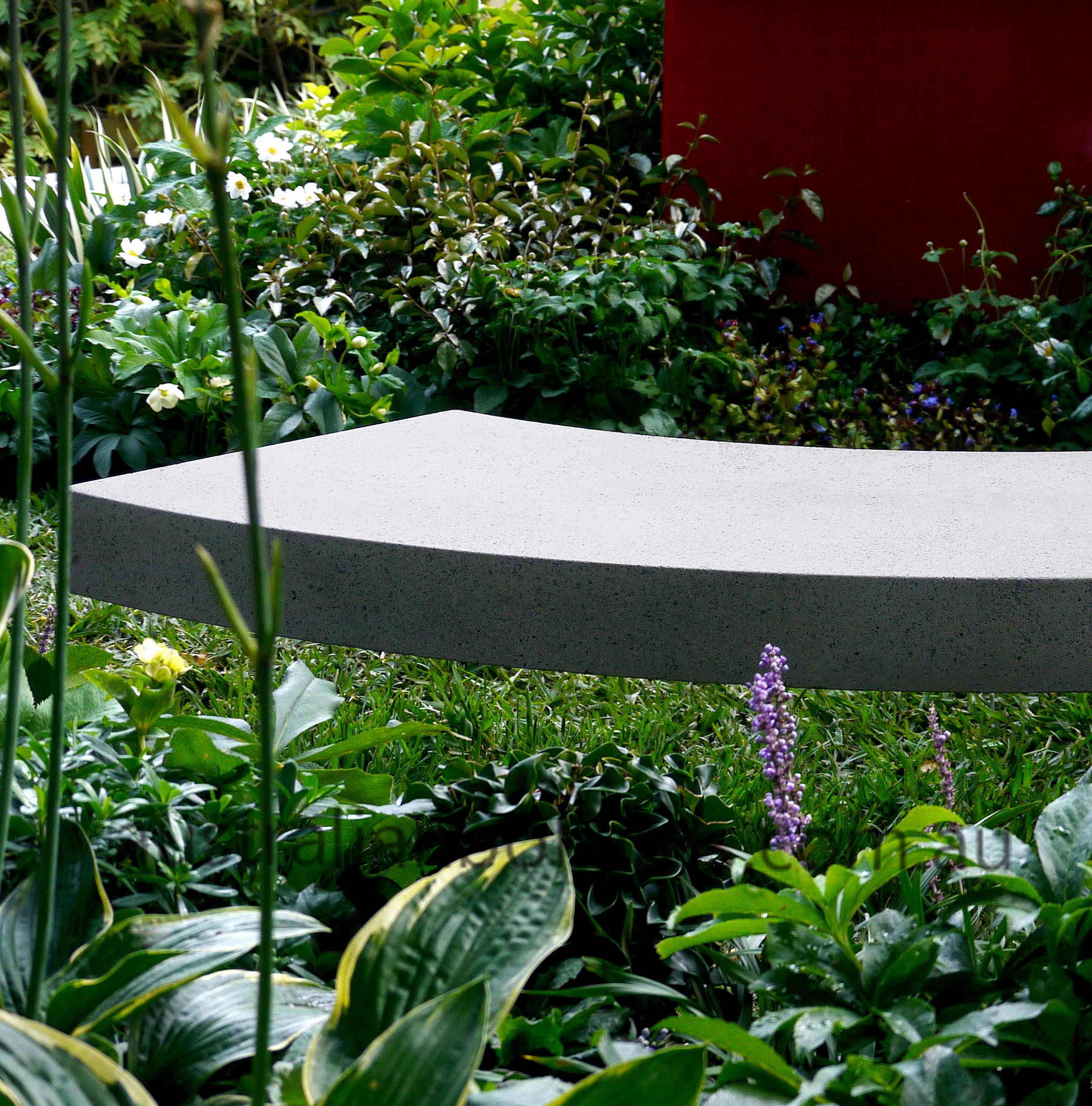 designer bollard shaped as floating bench